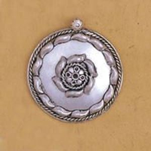 Picture of White Base Metal Round Pendant 43mm