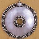 Picture of White Base Metal Round Pendant 64mm