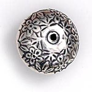Picture of Sterling Silver Floral Rondelle Bead 18mm, I.D. 2mm, JBB ~ Finding