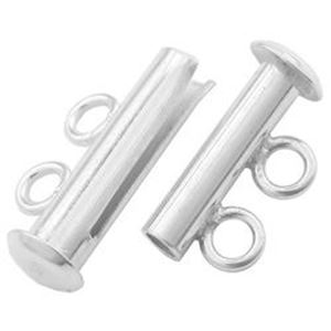 Picture of Sterling Silver Tube Clasp, 2 Strands, 16x10mm
