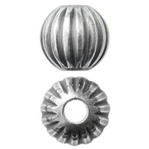 Picture of Sterling Silver Corrugated Round Beads 5mm 1.5mm Hole<br />10 ~        Beads