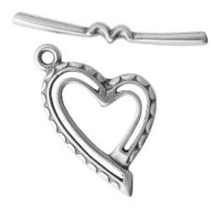 Picture of Silver Plated Heart Toggle 15mm Loop 25mm Bar. JBB Finding