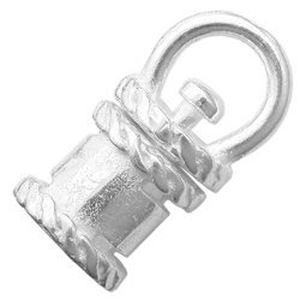Picture of Silver Plated Crimp Revolving End Cap 4mm JBB Finding.  Fits a ~ 4mm strand.