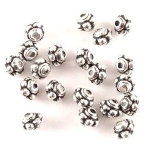 Picture of Silver Plated Oxidized Spacer Beads 4x5mm 1mm Hole<br />20 ~        Beads