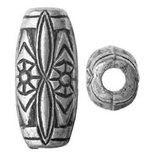 Picture of Silver Plated Oxidized Melon Beads 12x25mm 3.5mm Hole<br />6 ~        Beads