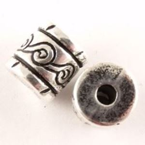 Picture of Silver Plated Oxidized Barrel Beads 13mm 3.5mm Hole<br />10 ~        Beads