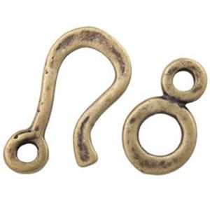 Picture of Antique Brass Plated Pewter Hammered 23mm Hook 16mm Eye. JBB ~ Finding