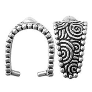 Picture of TierraCast Antiqued Silver Plated Large Spiral Pinch Bail, ~ 17mm