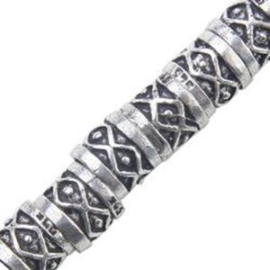 Picture of Silver Plated Copper Diamond Spacer Tube 7x8mm, I.D. 5.6mm, Approx. ~        11 Spacers