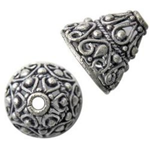 Picture of Silver Plated Copper Bali Style Cone 12x14mm<br />5 Cones