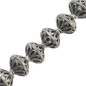 Picture of Silver Plated Copper Rondelle Bead 10x10mm, I.D. 1.6mm, Approx. 8 ~        Beads