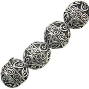 Picture of Silver Plated Copper Melon Bead 11x13mm, I.D. 2.2mm, Approx. 6 ~        Beads