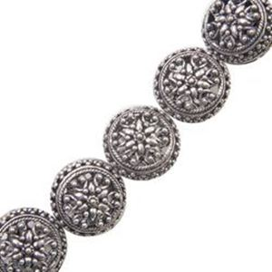 Picture of Silver Plated Copper Flat Fancy Bead 15mm, I.D. 1.4mm, Approx. 5 ~        Beads