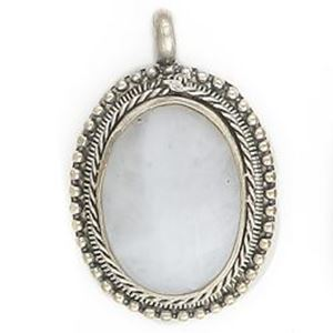 Picture of Oval White Agate Base Metal Pendant 28mm