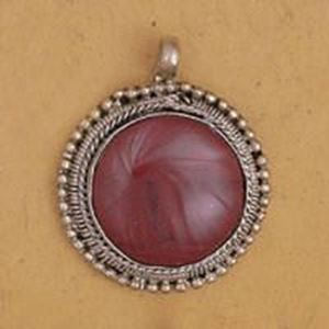 Picture of Round Red Jasper Base Metal Pendant 29mm