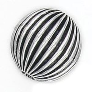 Picture of Silver Plated Copper Corrugated Round Beads 18mm 3.4mm Hole, Approx. ~        5 Beads