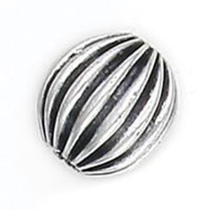 Picture of Silver Plated Copper Corrugated Round Beads 12mm 2.4mm Hole, Approx. ~        10 Beads