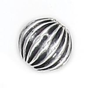 Picture of Silver Plated Copper Corrugated Round Beads 9mm 2mm Hole, Approx. 10 ~        Beads