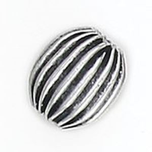 Picture of Silver Plated Copper Corrugated Oval Beads 9x11mm 1.9mm Hole<br />10 ~        Beads