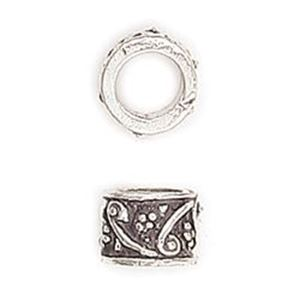 Picture of Silver Plated Copper Tube Scroll Beads 6x8mm 5.6mm Hole, Approx. 10 ~        Beads