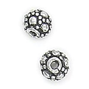 Picture of Silver Plated Copper Spacer Berry Beads 5mm 0.7mm Hole, Approx. 10 ~        Beads