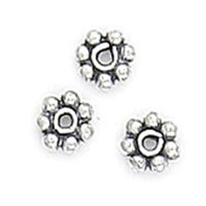 Picture of Silver Plated Copper Spacer Daisy Beads 4mm 0.7mm Hole, Approx. 10 ~ Beads