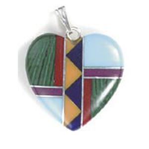 Picture of Imitation Block Inlay Heart with Bail 20mm