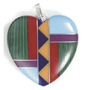 Picture of Pendant Inay, Imitation Block Heart with Bail, 30mm