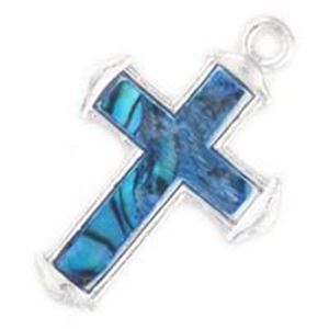 Picture of Abalone Pendant Cross Blue