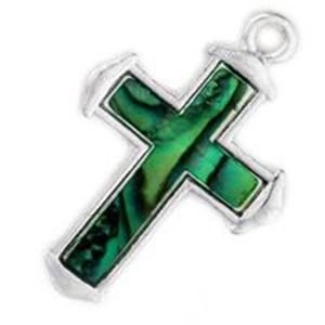 Picture of Abalone Pendant Cross Green