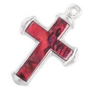 Picture of Abalone Pendant Cross Red