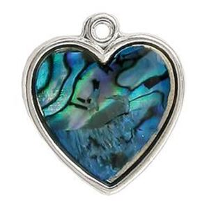 Picture of Abalone Pendant Heart Blue