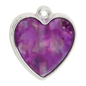 Picture of Abalone Pendant Heart Purple