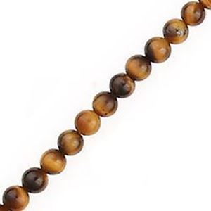 """Picture of Tiger Eye Round Bead 4mm 16"""" Strand"""