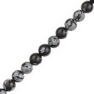 "Picture of Snowflake Obsidian Round Bead 4mm 16"" Strand"