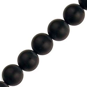 """Picture of Black Matte Round Onyx Bead 8mm 16"""" Stand"""