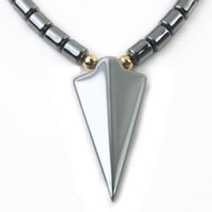 """Picture of Hematine Arrowhead Finished Necklace 16"""" Strand"""