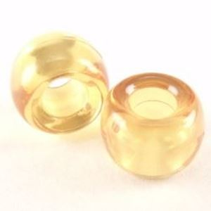 Picture of Plastic Amber Transparent Crow Beads 9x6mm<br />100 Beads
