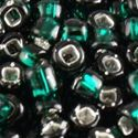 Picture of Silverlined Dark Green Seed Beads Color #16A / Size #8<br ~        />Approximately 25 Grams