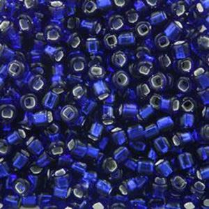 Picture of Size 8 Japanese Seed Beads, Silverlined Cobalt (#20), Approximately ~ 25 Grams