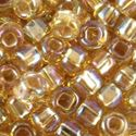 Picture of Size 8 Japanese Seed Beads, Silver-lined Gold Aurora Borealis (#634), ~ Approximately 25 Grams