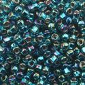 Picture of Size 8 Japanese Seed Beads, Silver-lined Peacock Green Aurora ~ Borealis (#643), Approximately 25 Grams