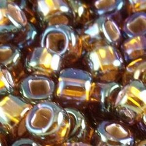 Picture of Size 8 Japanese Seed Beads, Silver-lined Brown Aurora Borealis ~ (#648), Approximately 25 Grams