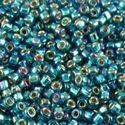 Picture of Silverlined Peacock Green AB Seed Bead #643 / Size 11<br ~ />Approximately 25 Grams