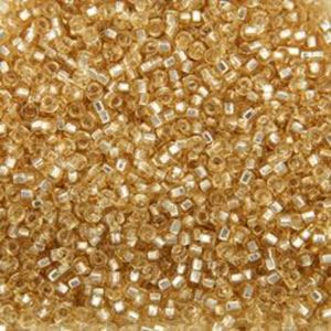 Picture of Size 15 Seed Bead, Silver-Lined Straw Gold #3, Approximately 25 ~ Grams