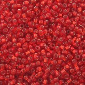Picture of Size 15 Seed Bead, Silver-Lined Red #11, Approximately 25 ~ Grams