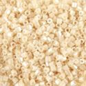 Picture of Size 15 Hexagon Seed Bead, Opaque Lustre Off White #421A, ~ Approximately 25 Grams