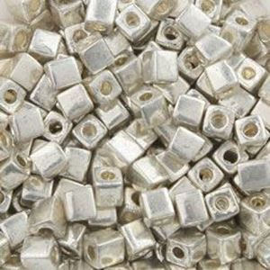 Picture of Square 3x3mm Seed Bead, Galvanized Silver #470, Approximately 25 ~ Grams