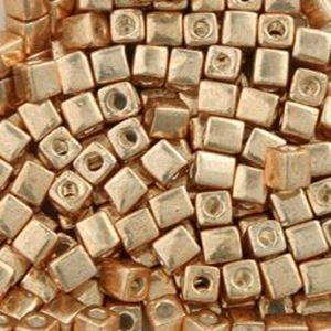 Picture of Galvanized Gold Square Bead #471 / 3x3mm<br />Approximately 25 ~        Grams