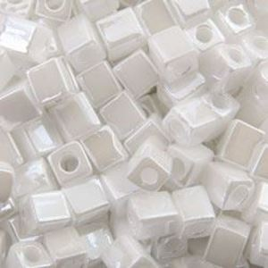 Picture of Opaque Lustre White Pearl Square Bead #420 / 4x4mm<br />Approximately ~        25 Grams